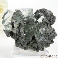 中国 Xianghualing Mine産 グリーンフローライトの母岩付き結晶(原石) 31gの画像
