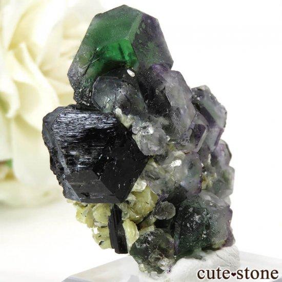 ナミビア エロンゴ産 グリーンフローライト&ブラックトルマリンの原石 27gの写真0 cute stone
