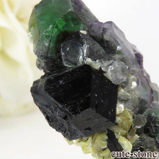 ナミビア エロンゴ産 グリーンフローライト&ブラックトルマリンの原石 27gの写真4 cute stone