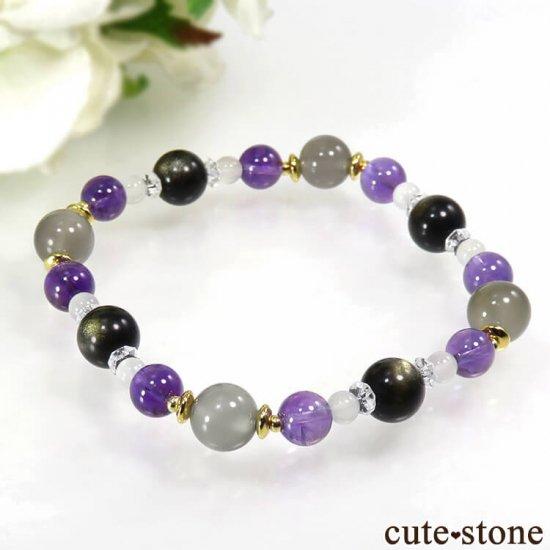 【月明かりの夜】 ムーンストーン アメジスト ゴールデンオブシディアン 水晶のブレスレットの写真0 cute stone