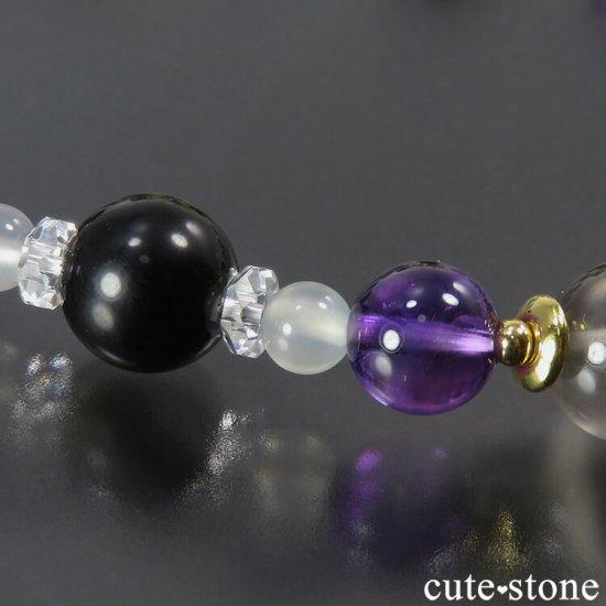 【月明かりの夜】 ムーンストーン アメジスト ゴールデンオブシディアン 水晶のブレスレットの写真3 cute stone