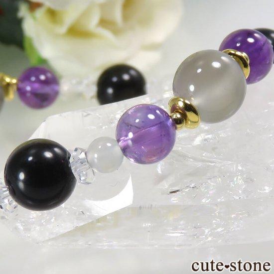【月明かりの夜】 ムーンストーン アメジスト ゴールデンオブシディアン 水晶のブレスレットの写真5 cute stone