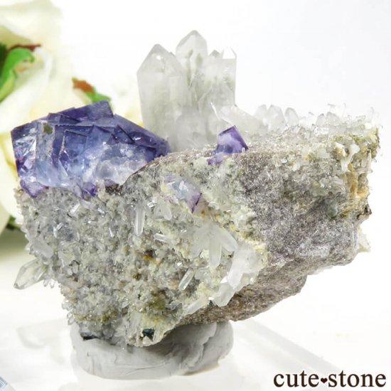ヤオガンシャン産 パープルブルーフローライト&クォーツの母岩付き結晶(原石)89gの写真1 cute stone