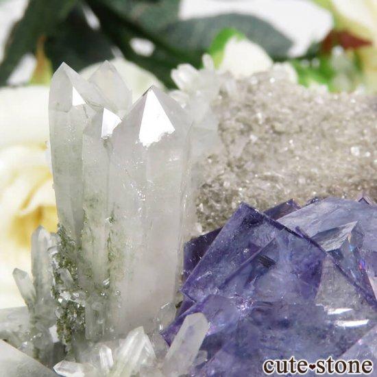 ヤオガンシャン産 パープルブルーフローライト&クォーツの母岩付き結晶(原石)89gの写真4 cute stone