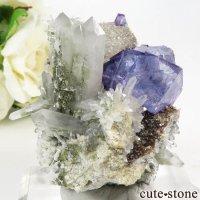 ヤオガンシャン産 パープルブルーフローライト&クォーツの母岩付き結晶(原石)89gの画像