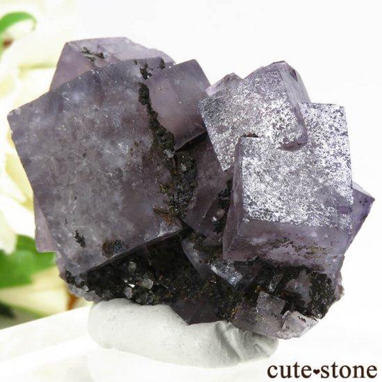 イングランド(イギリス) グリーンローズ産のパープルフローライトの原石 47gの写真1 cute stone
