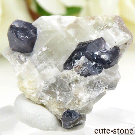 マダガスカル産 ブルースピネルの母岩付き結晶 (原石) 7.6gの写真1 cute stone