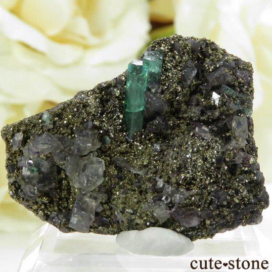 コロンビア Chivor Mine産 エメラルド&パイライトの母岩付き結晶(原石)6.5g