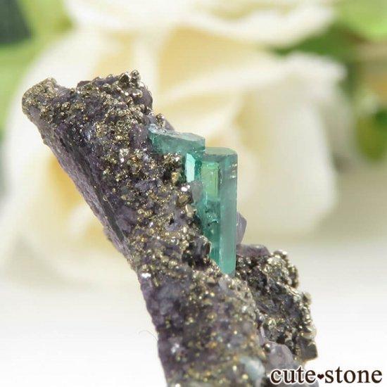 コロンビア Chivor Mine産 エメラルド&パイライトの母岩付き結晶(原石)6.5gの写真4 cute stone
