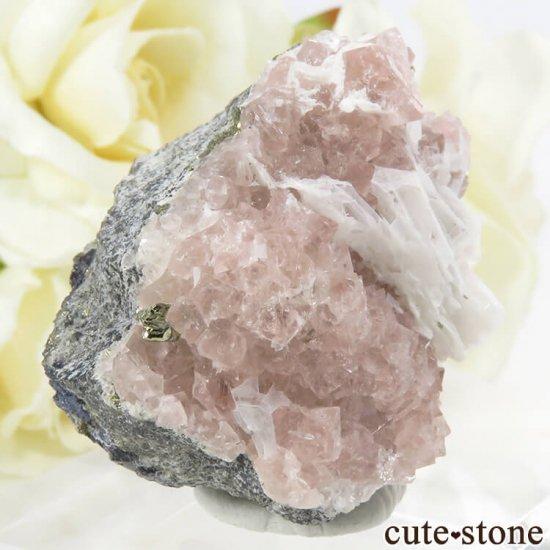 ペルー Huanzala Mine産 ピンクフローライト&パイライト 45gの写真0 cute stone