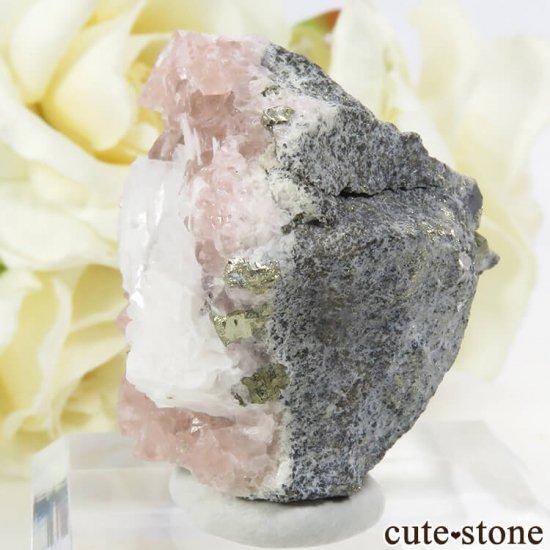 ペルー Huanzala Mine産 ピンクフローライト&パイライト 45gの写真2 cute stone