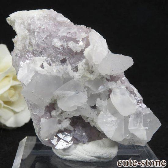 イングランド(イギリス)産パープルフローライト&カルサイトの母岩付き結晶(原石)54.2gの写真1 cute stone