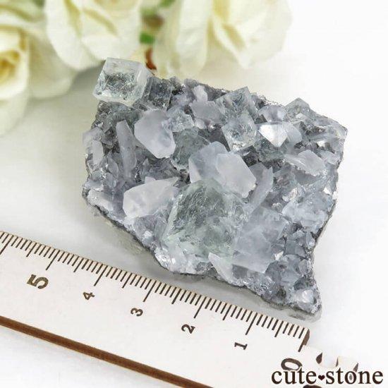 中国 Xianghualing Mine産 グリーンフローライト&カルサイトの母岩付き結晶(原石) 32gの写真7 cute stone