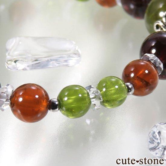 【冬隣】 グリーンガーネット、ヘソナイト、ガーネットのブレスレットの写真4 cute stone