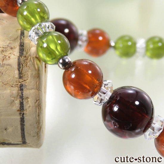 【冬隣】 グリーンガーネット、ヘソナイト、ガーネットのブレスレットの写真5 cute stone