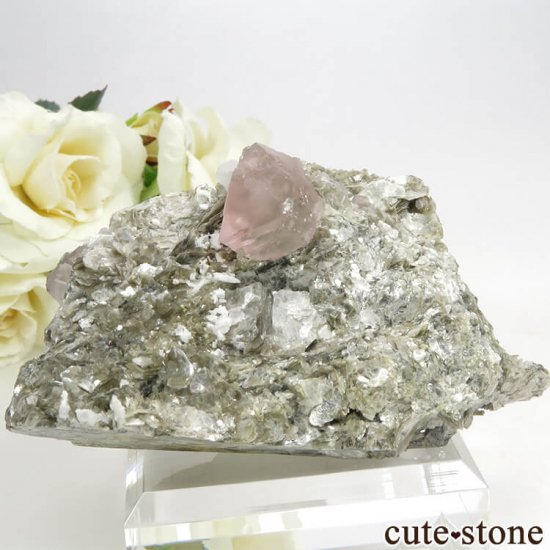 パキスタン Chumar Bakhoor産 ピンクフローライト&スペサルティンガーネットの母岩付き結晶(原石) 147gの写真5 cute stone