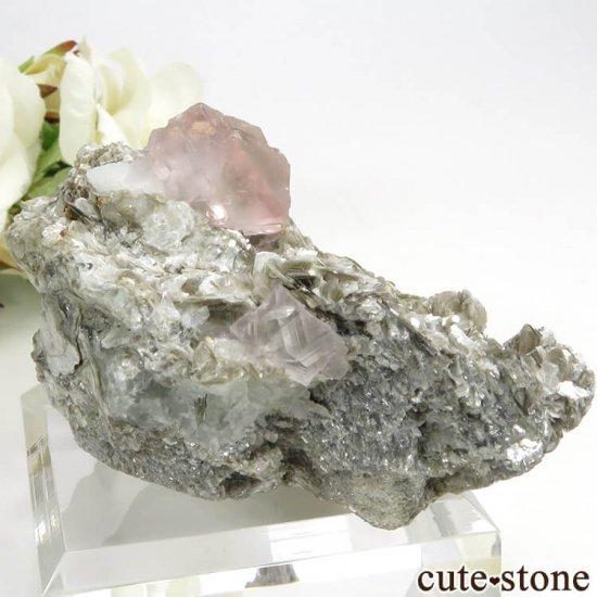 パキスタン Chumar Bakhoor産 ピンクフローライト&スペサルティンガーネットの母岩付き結晶(原石) 147gの写真6 cute stone