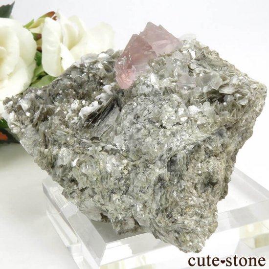 パキスタン Chumar Bakhoor産 ピンクフローライト&スペサルティンガーネットの母岩付き結晶(原石) 147gの写真7 cute stone