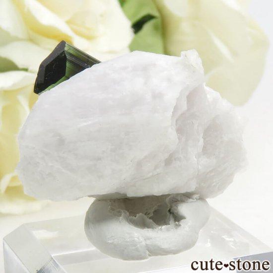 パキスタン スカルドゥ産 グリーントルマリンの母岩付き結晶(原石) 18gの写真1 cute stone
