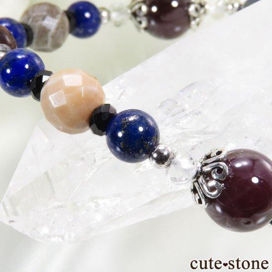 【AZZURRO E MARRONE】 スターガーネット、ピーターサイト、フォシルコーラル、ラピスラズリ、ブラックスピネル、水晶のブレスレットの写真3 cute stone