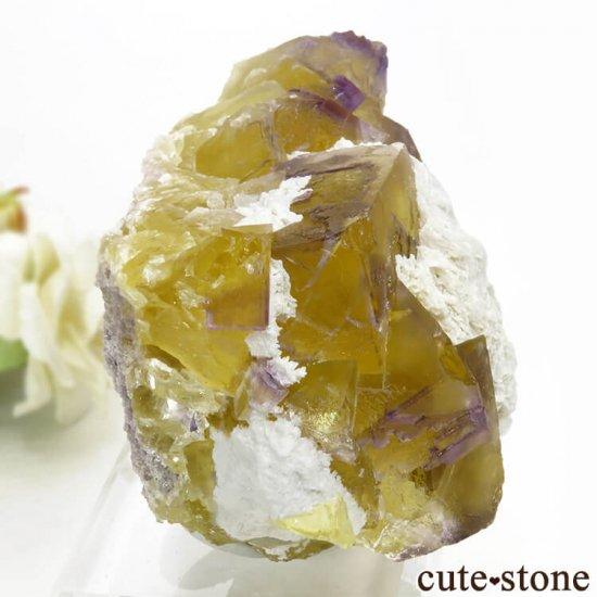 イリノイ州 Cave-in-Rock産 イエロー×パープルフローライト(蛍石)の原石 578g の写真0 cute stone