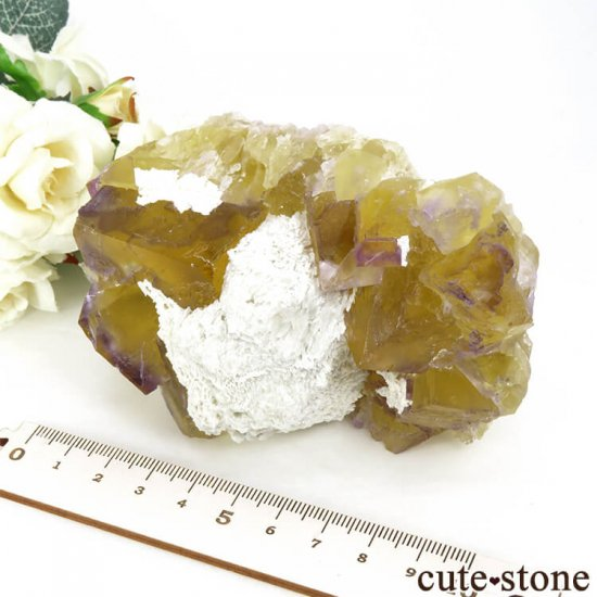 イリノイ州 Cave-in-Rock産 イエロー×パープルフローライト(蛍石)の原石 578g の写真7 cute stone