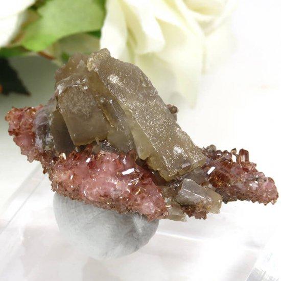 南アフリカ N'Chwaning I Mine産 ロードクロサイト&バライトの母岩付き結晶(原石)18.2gの写真1 cute stone