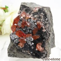 ペルー Uchucchacua Mine産 ロードクロサイト&フローライトの母岩付き結晶(原石)156gの画像
