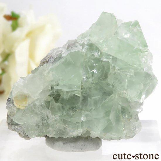 モンゴル産 グリーンフローライト&カルサイトの母岩付き結晶(原石) 62.1g