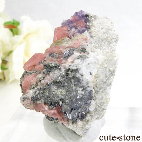 コロラド スイートホーム鉱山産のロードクロサイト&フローライトの原石 139gの写真1 cute stone