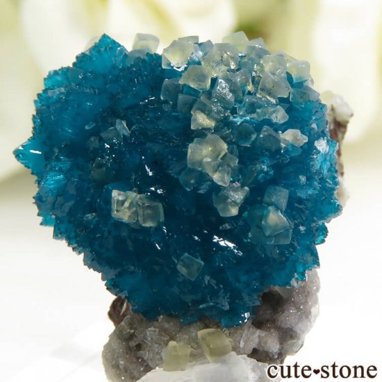 インド プネー産 カバンサイト&カルサイトの母岩付き結晶(原石) 5.1g