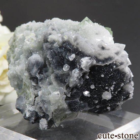 中国 湖南省産 グリーンフローライト&クォーツの共生標本(原石)76gの写真0 cute stone