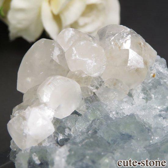中国 貴州省産 グリーンフローライト&カルサイトの結晶(原石)79gの写真4 cute stone