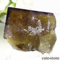 ドイツ産 イエロー×パープルフローライトの結晶 (原石) 21gの画像