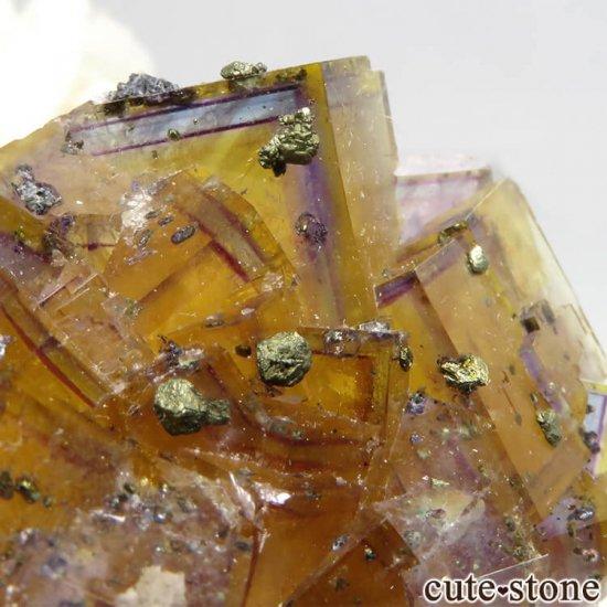 ドイツ Frohnau産 イエロー×パープル×ブルーフローライト&パイライト 25.3gの写真4 cute stone