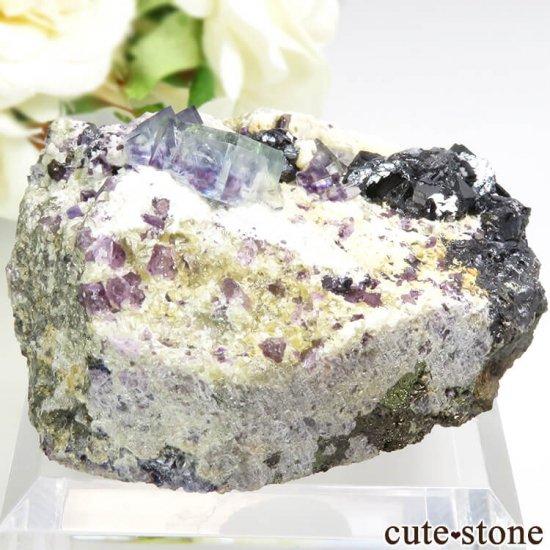 ヤオガンシャン産 ブルーグリーンフローライト&アルセノパイライト 117gの写真0 cute stone