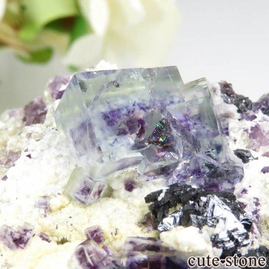 ヤオガンシャン産 ブルーグリーンフローライト&アルセノパイライト 117gの写真1 cute stone