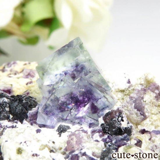 ヤオガンシャン産 ブルーグリーンフローライト&アルセノパイライト 117gの写真2 cute stone