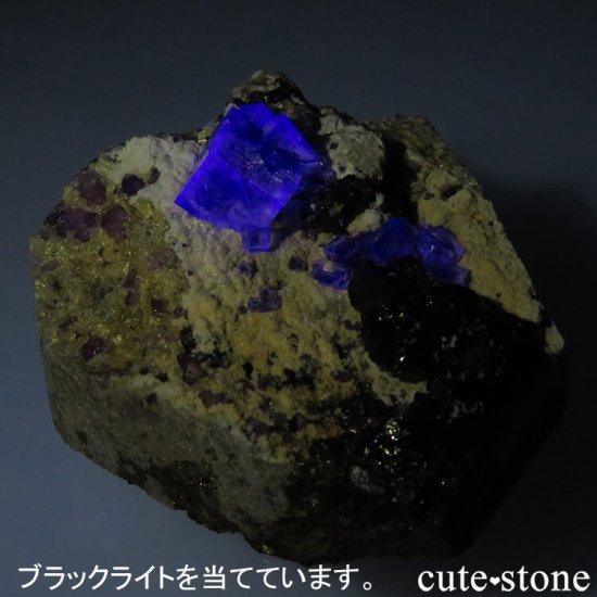 ヤオガンシャン産 ブルーグリーンフローライト&アルセノパイライト 117gの写真4 cute stone