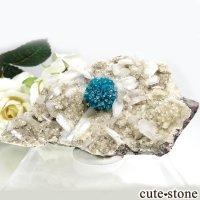 インド プネー産 カバンサイト&カルサイト&スティルバイトの母岩付き結晶(原石) 51gの画像