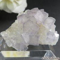フランス Fontsante Mine産 ライトブルーフローライト&クォーツの結晶(原石)10gの画像