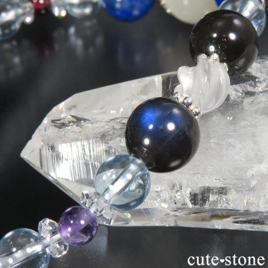 【4周年記念 memorial】 ホワイトクォーツキャッツアイ K2ムーンクォーツ ラピスラズリ ブラックラブラドライト ブルートパーズのブレスレットの写真3 cute stone