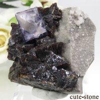 アメリカ エルムウッド鉱山産 パープルブルーフローライト&スファレライトの原石 91gの画像