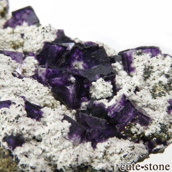 中国 湖南省産 パープルフローライト&クォーツの母岩付き結晶(原石)158gの写真2 cute stone