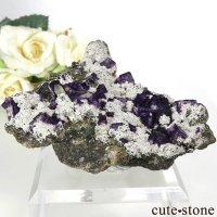 中国 湖南省産 パープルフローライト&クォーツの母岩付き結晶(原石)158gの画像