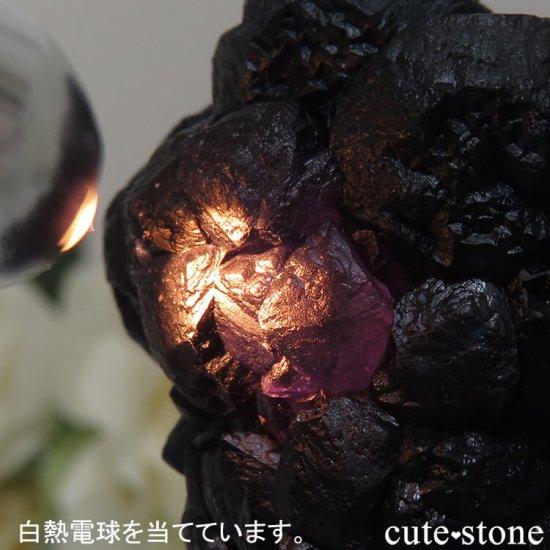 中国 内モンゴル産 Huanggang産 ディープブルーフローライト&クォーツの原石 75gの写真4 cute stone