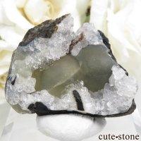 インド産 球体イエローフローライト&クォーツの原石 22.8g(原石・鉱物標本)の画像