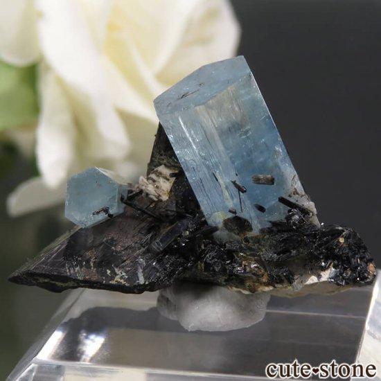 ナミビア エロンゴ産 アクアマリン&ブラックトルマリンの結晶(原石)5.5gの写真1 cute stone