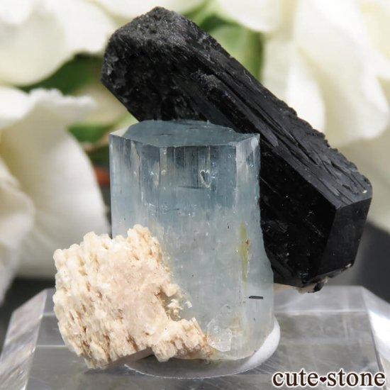 ナミビア エロンゴ産 アクアマリン&ブラックトルマリンの結晶(原石)6.2g