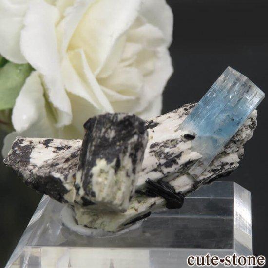 ナミビア エロンゴ産 アクアマリン&ブラックトルマリンの結晶(原石)7.9g